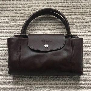 Dark Burgundy Longchamp leather Le Pliage bag